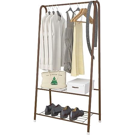 UDEAR Portants, étagère de Rangement à 2 Niveaux pour Organisateur Portable Simple, vêtements et Chaussures de Magasin, pour Salon et Chambre à Coucher,Marron