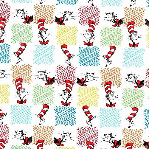 Robert Kaufman Fabrics Dr Seuss The Cat in The Hat Multi Checkerboard Cat