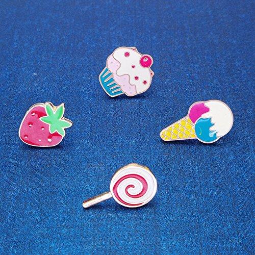 iTemer Broches Broches de bisuteria para Zapatos Pins para Chaquetas y chapas Un Hermoso Regalo Helado Fresas Lollipop Metal 4 Piezas
