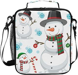 Joli sac à déjeuner isotherme de Noël avec bonhomme de neige sur fond blanc - Grande capacité - Pour voyage, pique-nique, ...