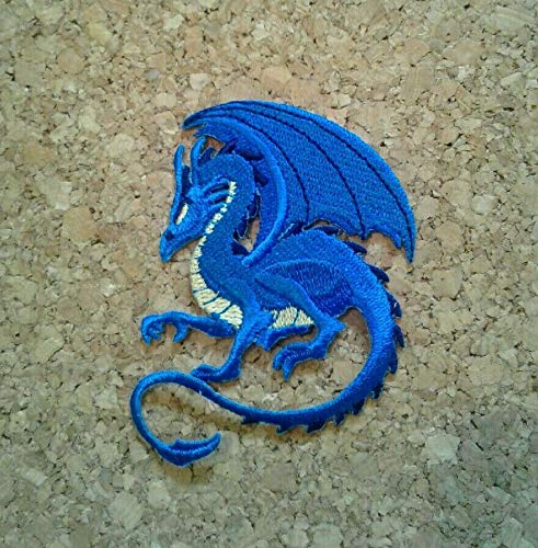 Dragon - Blue - Serpent - Fantasy - Mythology - Embroidered Iron On Patch