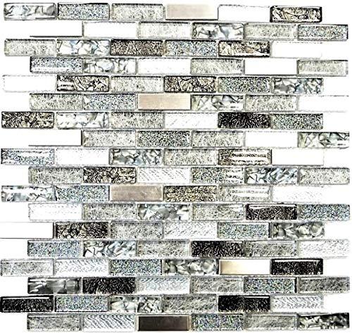 Mosaikfliese Transluzent Edelstahl silber grau schwarz Verbund Glasmosaik Crystal Stahl silber grau schwarz MOS87-IL017