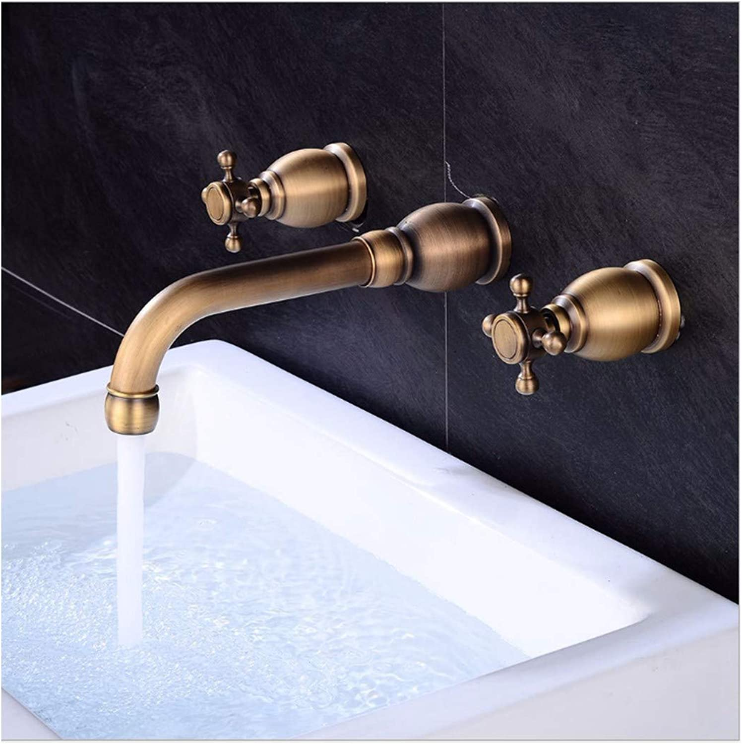 PatTheTap Retro Faucet Vintage Drawing Brass Wall Tap Bathroom Washasin Water Tap Hot and Cold Mixing Water-Tap Round Seat 3-Hole 2 Handle