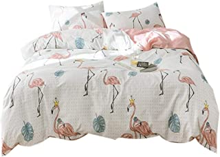 FenDie Tropical Leaves Flamingo Print Reversible Lightweight Duvet Cover Set Twin Dot Pattern Bedding Set with 2 Pillow Shams 100 Cotton Twin Kids Duvet Cover with Zipper for Girls, No Comforter