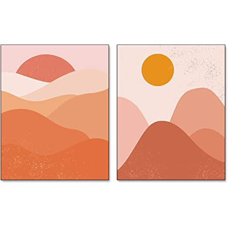 Amazon Com Vouoron Medieval Modern Abstract Sunset Sunrise Wall Art Painting Set Of 2 8 X10 Canvas Picture Used For Pretty Girl And Cute Dormitory Poster Bathroom Locker Room Bedroom Office Decor Frameles Posters