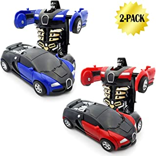 WOCY Toy Cars for Kids Vehicles 2-Packs 1-Step Deformation Car Robot Deformation Car Model Toy for Children, Kids and Toddlers,Crash to transform (Blue and Red)