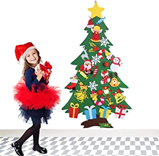 VOWOV Felt Christmas Tree Decorations Set with Ornaments - Double Stitched- Wall Hanging-Handmade 30pcs Detachable Christmas Ornaments 3.3 FT