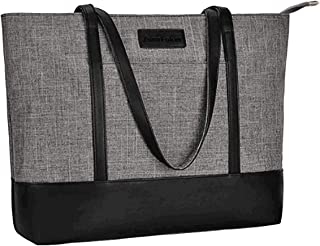 Laptop Tote Bag, Fits 15.6Inch Laptop, Womens Lightweight Water Resistant Nylon Tote Shoulder Bag Teacher Bag(Gray+Black)
