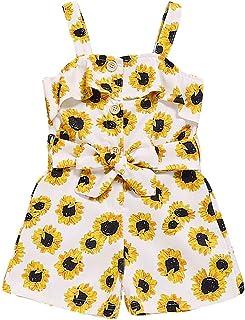 Moneycom, ❤ - Mono Floral para niños y niñas sin Mangas, Color Amarillo