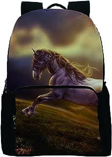 Bozdqun Cute Horse Backpack for Women Men Casual Galaxy Bookbag for Teens