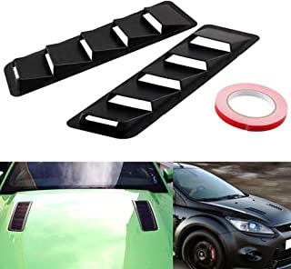 WYYINLI 2 Pack Car Hood Vent Scoop Kit Universal ABS Cold Air Flow Intake Louvers Cooling Intakes Auto Hoods Vents Bonnet Cover Car Decorative for Car SUV Truck (Black)