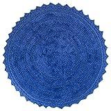 DII Reversable Ultra Soft Crochet Bath Mat, 27.5' Round, Blueberry