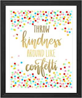 Eleville 8X10 Throw kindness around like confetti Real Gold Foil and Floral Watercolor Art Print(Unframed) Quote Print Wall Art Home Decor Holiday Gifts Family Rules Print WG108