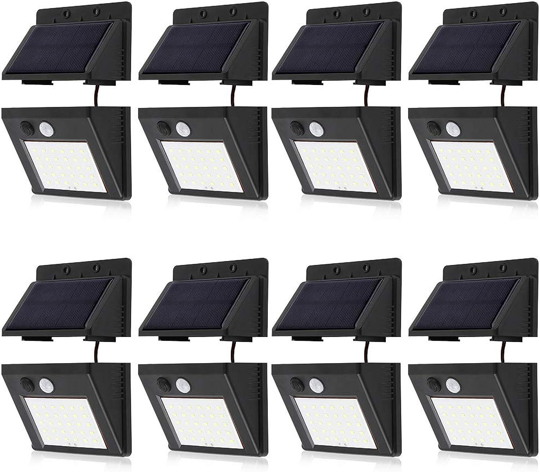 MENGZHEN Solarleuchten im Freien 30 LED Wasserdichte Solar-Sicherheitsleuchten Bewegungssensor solarbetriebene Lichter Sicherheit Wandleuchten Lampen (8PCS)