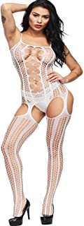 d4a8a8f5f44 Aeakey Sexy Bodystocking Fishnet Open Crotch Bodysuit Stretch Plus Size  Lingerie