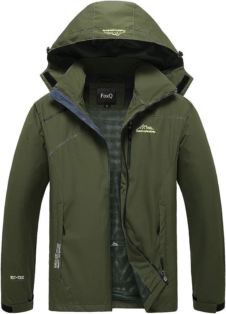 FoxQ Men's Spring Waterproof Jacket with Hood Lightweight Softshell Warm Windbreaker Outdoor Sport Hiking Rain Coat