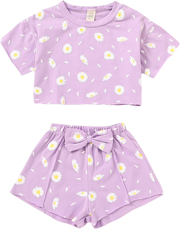 Toddler Baby Girls Daisy Print Summer Clothes Crop favorite Kids Shirt+ Portland Mall T