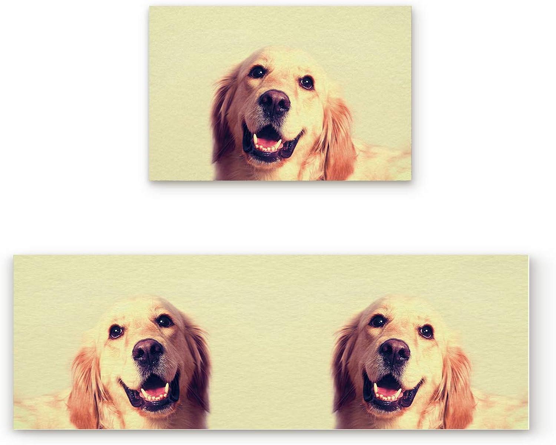 Libaoge Non-Skid Slip Rubber Backing Kitchen Mat Runner Area Rug Doormat Set, Animal Closeup - Cute Smile Puppy Dog Carpet Indoor Floor Mats Door 2 Packs, 19.7 x31.5 +19.7 x47.2