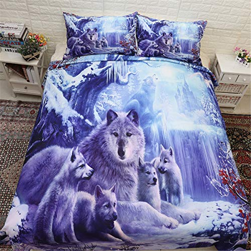 WONGS BEDDING Bettwäsche 3D Schnee Wolf Bettbezug Set 135x200 cm Bettwäsche Set 2 Teilig Bettbezüge Mikrofaser Bettbezug mit Reißverschluss und 1 Kissenbezug 50x75cm