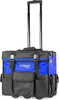 "Stark 20"" Rolling Wide Mouth Tool Bag Tote Telescoping Handle Tool Organizer Heavy Duty with Wheel and Divider, Blue"
