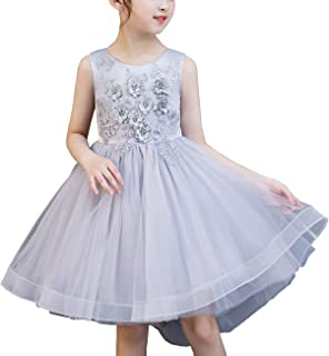 SERAPHY Girls Dresses Gilrs Party Dresses Flower Girls Wedding Princess Dresses Sleeveless Round Neck Pageant Bridesmaid Christening Dresses Gifts