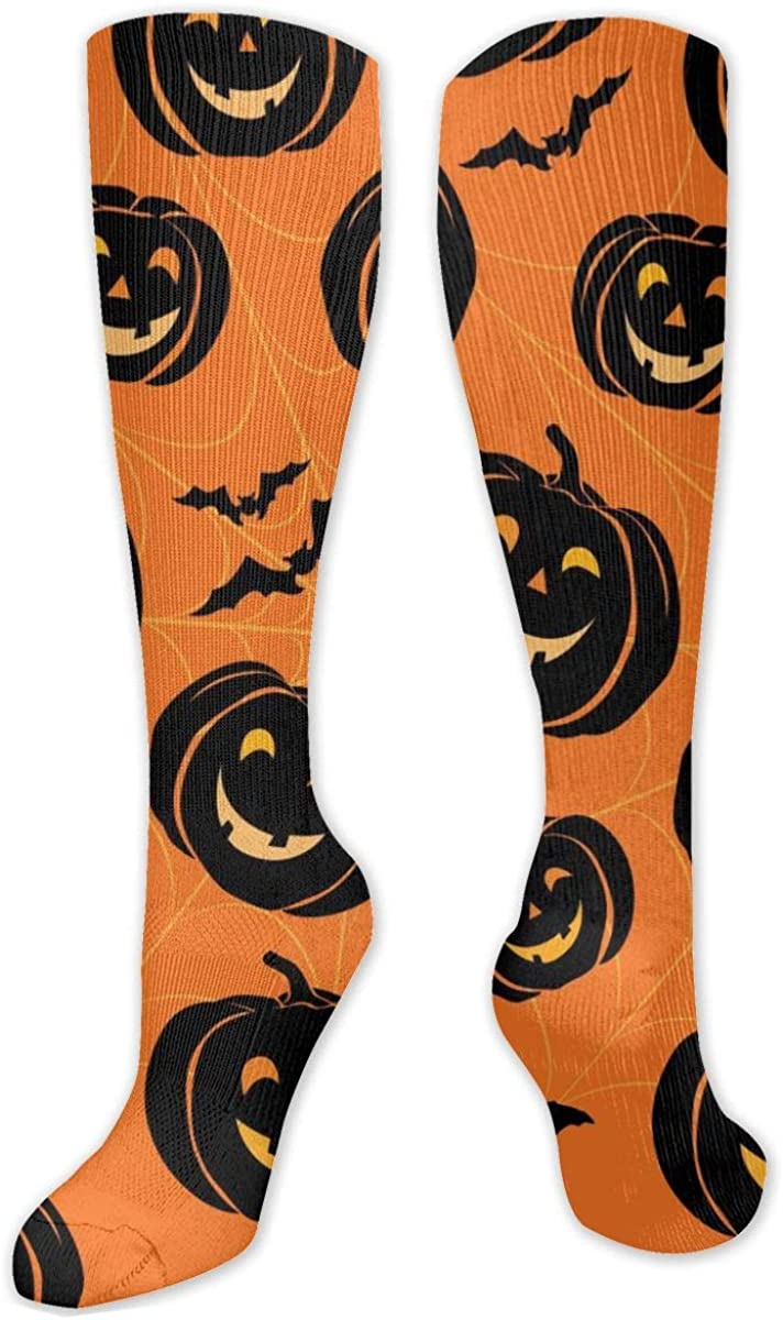 Halloween Black Pumpkin Knee High Socks Leg Warmer Dresses Long Boot Stockings For Womens Cosplay Daily Wear