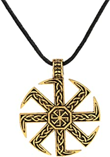 Vintage Norse Viking Irish Knot Slavic Kolovrat Sun Wheel Pendant Necklace Jewelry