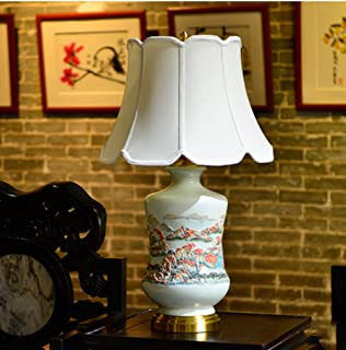 Zytyue デスクランプ ベッドルームベッドサイドランプリビングルームスタディホテルレトロセラミックリリーフ暖かい装飾テーブルランプ卓上ランプ