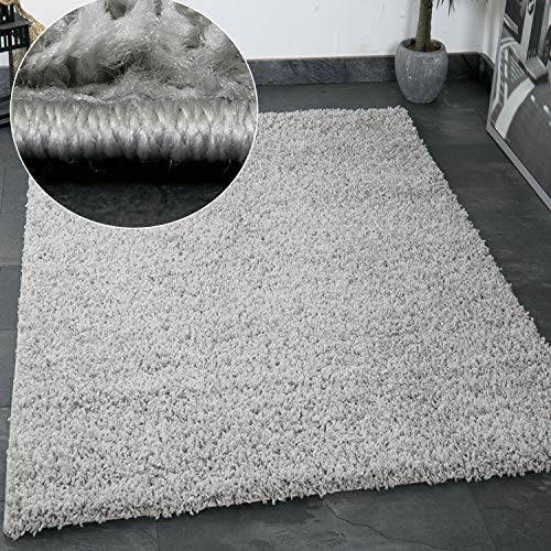 VIMODA Prime Shaggy Teppich Grau Hochflor Langflor Teppiche Modern, Maße:160x220 cm