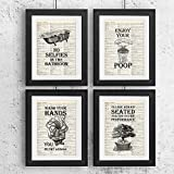 IHopes+ Bathroom Quotes and Sayings Vintage Book Art Prints | Set of Four Photos 8x10 Unframed | Great Gift for Bathroom Decor
