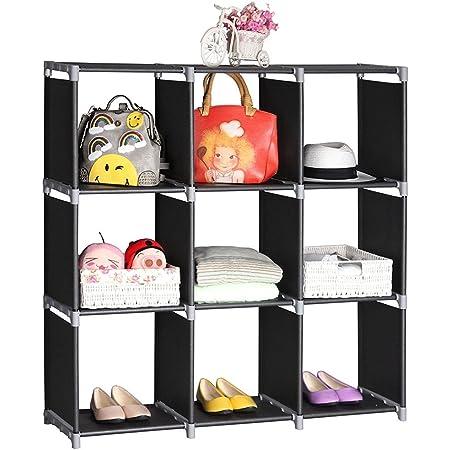 Alightup Étagère de Rangement, Meuble de Rangement Modulable, 9 Cubes Ouverts,Organisateur, Penderie pour Vêtements Chaussures Jouets Accessoires, Noir,32 x 29 x 33cm