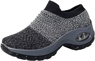 Sherostore ♡ Womens Walking Tennis Shoes Slip On Light Weight Mesh Platform Air Sneakers Wedge Platform Shoes