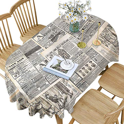 Retro Polyester Oval Tablecloth,Vintage Old French Newspaper Pattern Printed Washable Indoor Outdoor Table Cloth,60x84 Inch Oval,for Buffet Banquet Parties Event Holiday Dinner