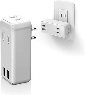 エレコム 電源タップ USBタップ 2.4A (USBポート×2 コンセント×2) 直挿し ホワイト ECT-10WH