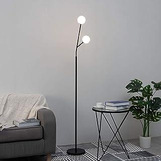 KOSILUM - Lampadaire design noir et blanc à 2 boules - Fabrizio - Lumière Blanc Chaud Eclairage Salon Chambre Cuisine Coul...