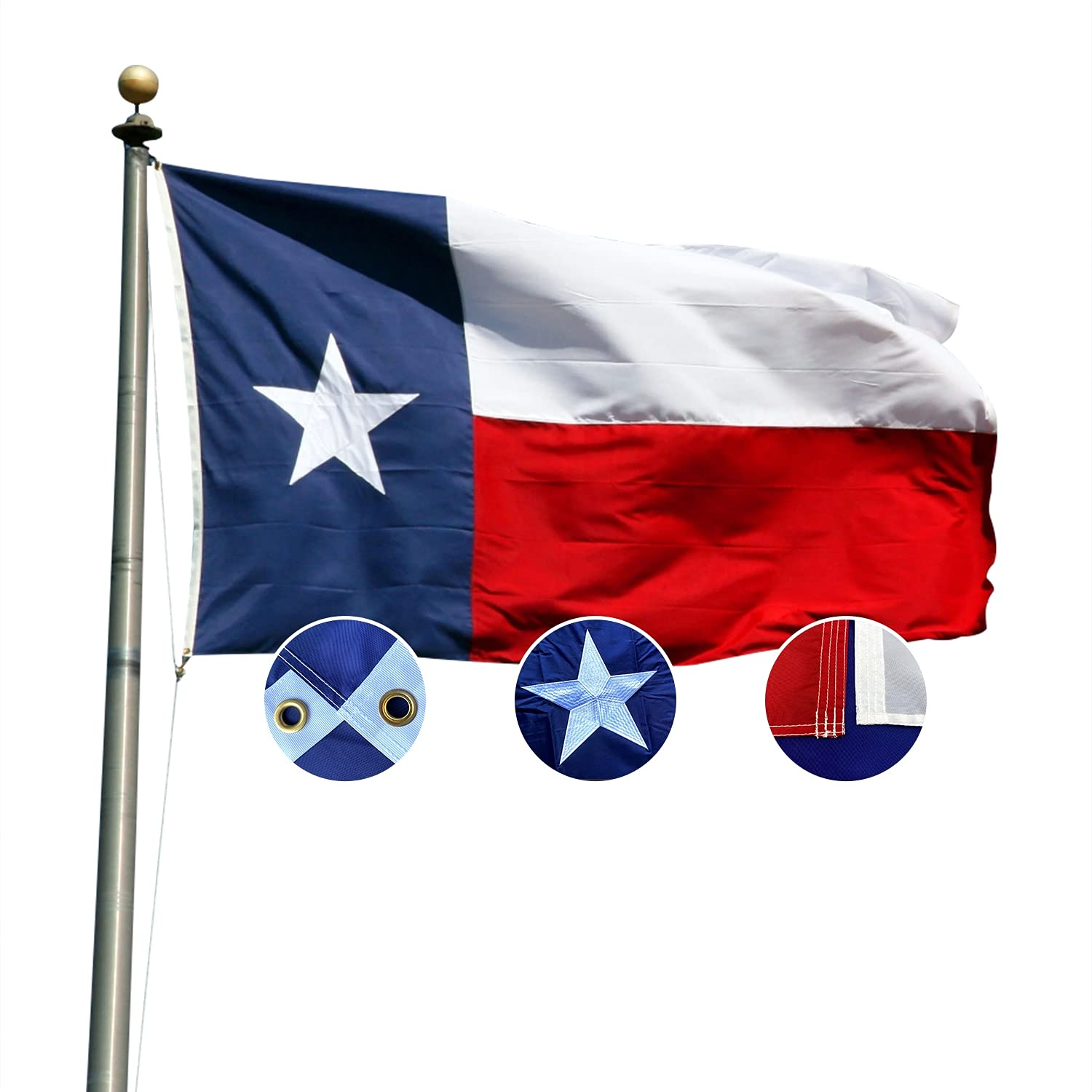 A1Fleg Texas Flag 3x5 Outdoor Heavy Duty, Texas State Flag, Premium Big Texas Flags 3x5 for Wall Yard Decor High Wind, Upgrade Brass Grommets, Great Color Fastness Nylon, Beautifully Embroidered Star
