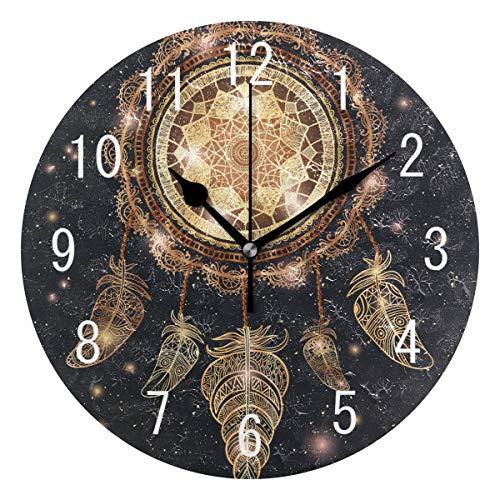 Use7 Home Decor Traumfänger, Mandala-Feder, Ethno-Stil, rund, Acryl-Wanduhr, Nicht tickend, geräuschlose Uhr, Kunst für Wohnzimmer, Küche, Schlafzimmer