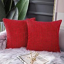 QUANHAO Funda de Almohada de mazorca de maíz, Funda de Almohada, Funda de cojín de Pana, cojín Decorativo Cuadrado para sofá y Funda de Almohada para Coche, Paquete de 2(Rojo, 45x45cm)