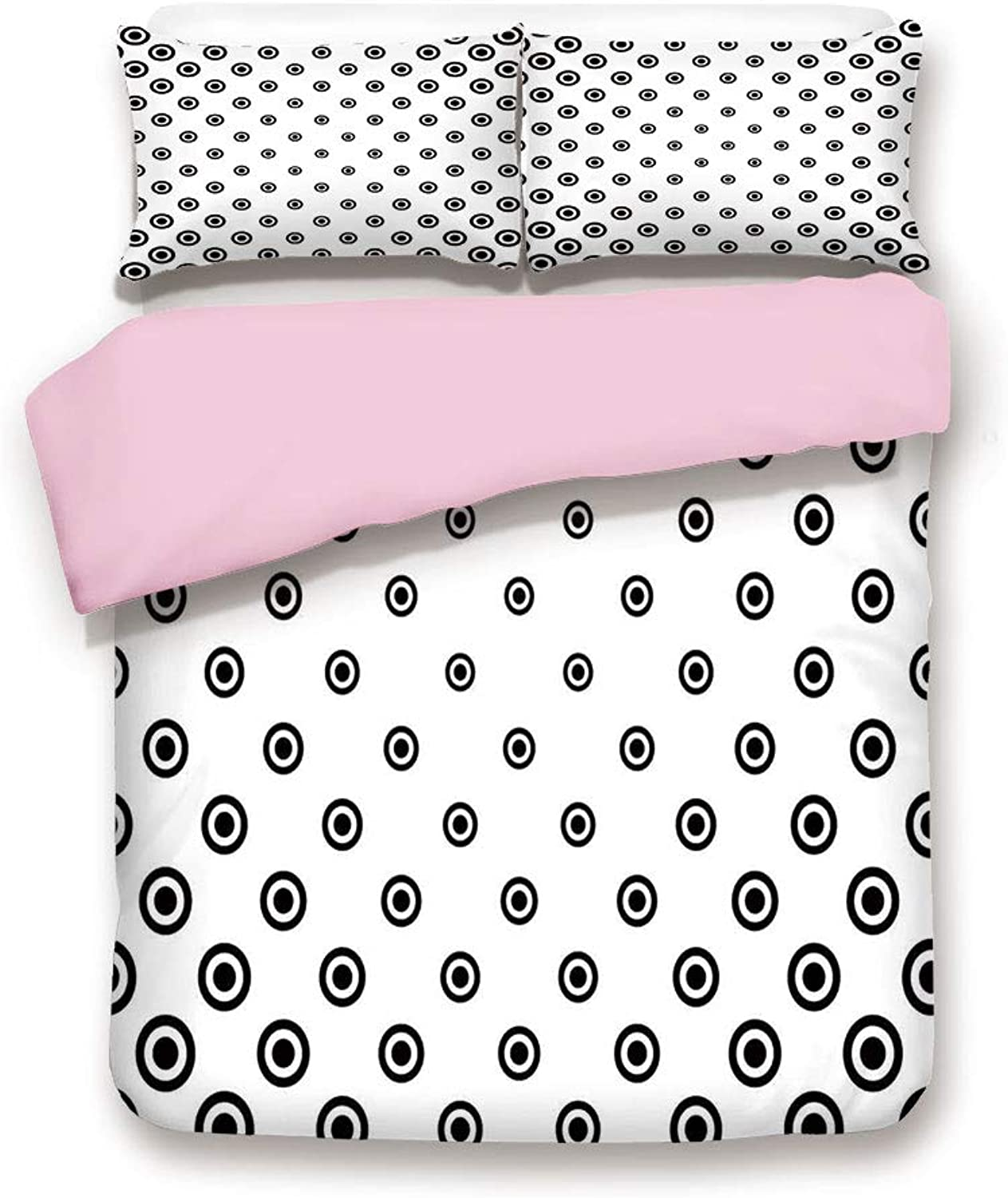 IPrint Pink Duvet Cover Set,Twin Size,Different Round Shaped Dots Spots Motif Simple Abstract Background,Decorative 3 Piece Bedding Set with 2 Pillow Sham,Best Gift for Girls Women,Black White