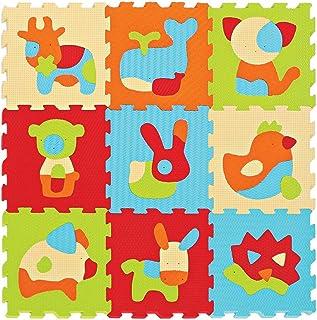 LUDI – Tapis de sol épais pour l'éveil de bébé – 10005 - puzzle géant aux motifs Animaux – dès 10 mois – lot de 9 dalles e...