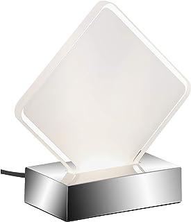 Briloner Leuchten Lámpara de mesa, lámpara de noche con interruptor de cable, placa LED cuadrada de color blanco con borde transparente, 3 W, 230 lúmenes, plástico, 3 W, cromo, 150 x 60 x 155 mm