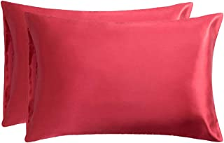 Bedsure Satin Pillowcase for Hair and Skin, 2-Pack - Queen Size (20x30 inches) Pillow Cases - Satin Pillow Covers with Envelope Closure, Red