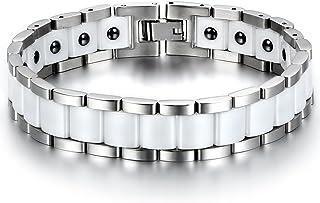Jewelrywe Bracciale modalità di grande larghezza in acciaio inossidabile e ceramica buona salute per uomo nero e bianco co...