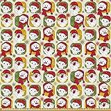 ABAKUHAUS Weihnachten Microfaser Stoff als Meterware, Santa