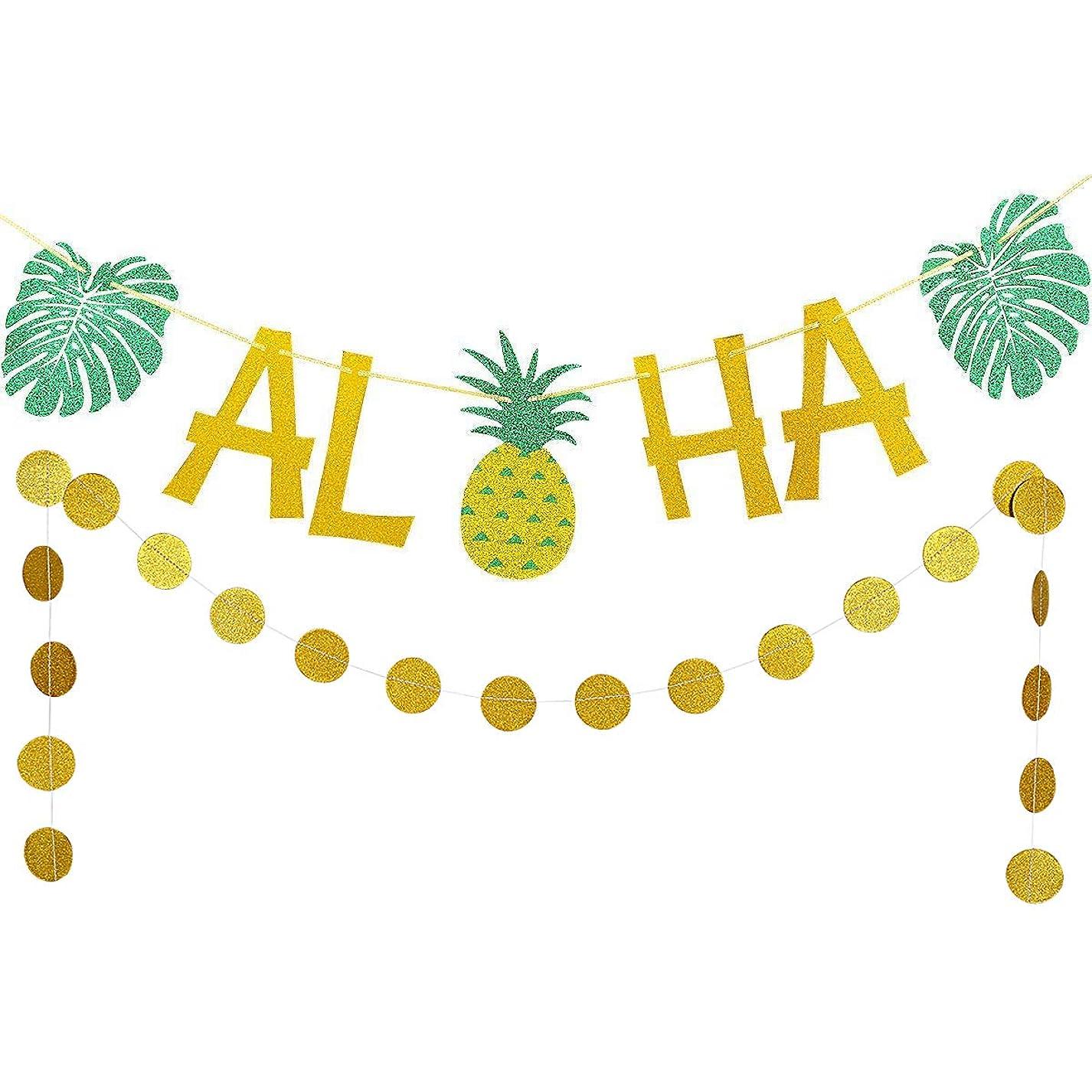 Gold Glittery ALOHA Green Leaves Pineapple Garland and Gold Glittery Circle Dots Garland(25pcs Circle Dots),Hawaiian Tropical Luau Beach Summer Party Decoration Supplies rkd432350584814