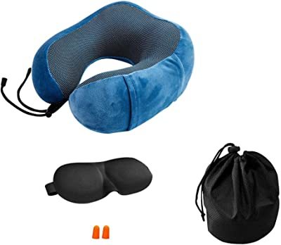 eoocvt Travel Pillow Pure Memory Foam Neck Pillow Stops The Head from Falling Forward Sleep Mask Earplugs for Airplane Car Home (Blue)
