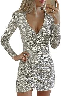 Yijinstyle Las Mujeres Otoño Invierno Moda Vestido Cortas Ajustado de Lentejuela Irregular Mini Vestido de Fiesta Cóctel N...