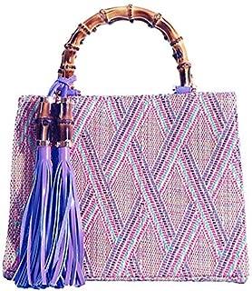 TOOGOO Fashion Ladies Tote Bags Woven Rattan Handle Bags For Women Tassel Top-Handle Bags Bohemian Girls Handbags Black