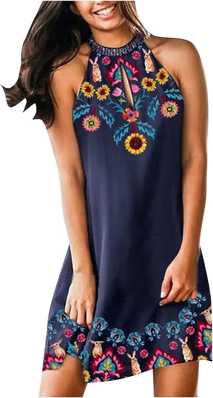 Oiumov Summer Dresses for Women, Womens Sleeveless Halter Neck A-line Mini Dress Casual Beach Sundress Loose Boho Dress