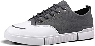 HaiNing Zheng Fashion Sneaker for Men Sports Shoes Lace Up Style Microfiber Leather Simple Pure Color (Color : Gray, Size : 8.5 UK)